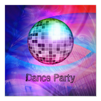 Dance Party Event Pink Blue Abstract Mirrorball Invitation