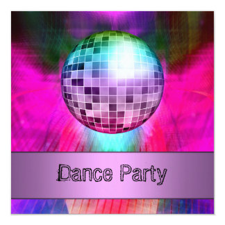 Dance Party Event Pink Purple Abstract Mirrorball Invitation