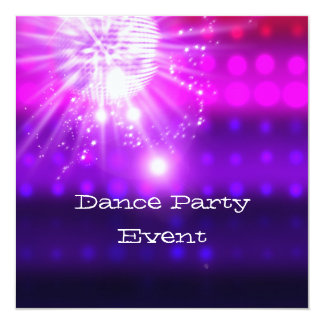 Dance Party Event Pink Purple Silver Mirrorball Invitation