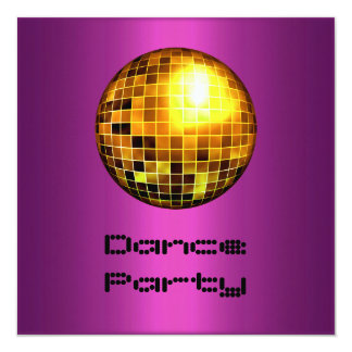 Dance Party Event Purple Gold Mirrorball Card