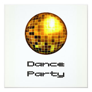 Dance Party Event White Gold Mirrorball Invitation