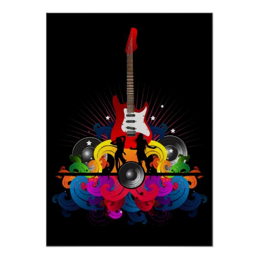 Dance Party Guitar Rave Poster