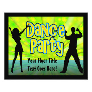 Dance Party, Neon Green/Black Personalized Flyer