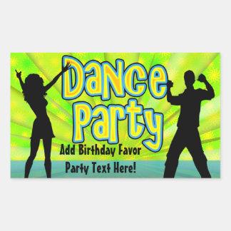 Dance Party, Neon Green/Black Rectangle Sticker