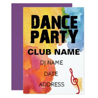 Dance Party with watercolor Card