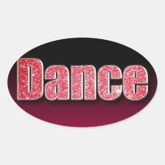 Dance Pink Glitter Oval Sticker