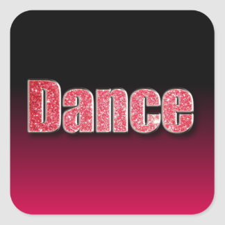 Dance Pink Glitter Square Sticker