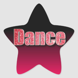 Dance Pink Glitter Star Sticker