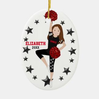 Dance Pom Girl Brunette Black and Red Ceramic Ornament