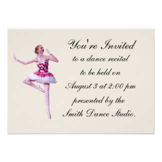 Dance Recital Invitation Ballerina Customizable