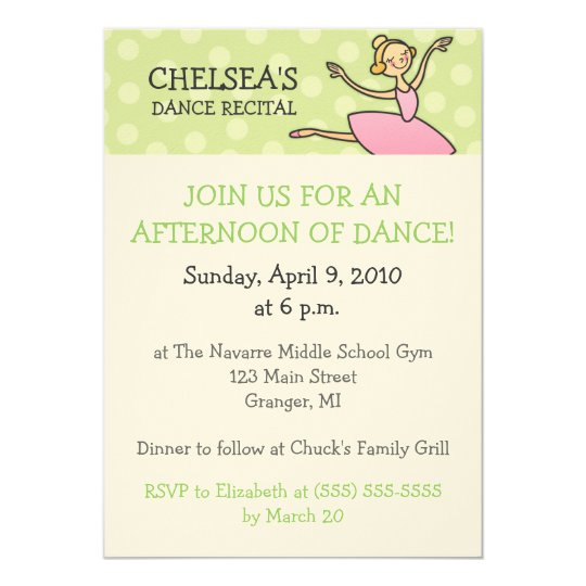 Dance Recital Invitations Zazzlecom