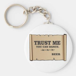 dance says beer keychain