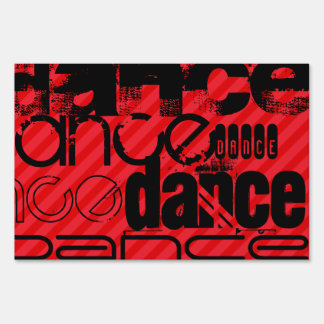 Dance; Scarlet Red Stripes Lawn Signs