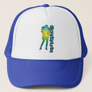 Dance shows one lady with long hair trucker hat