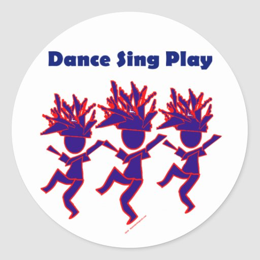 Dance Sing Play Classic Round Sticker