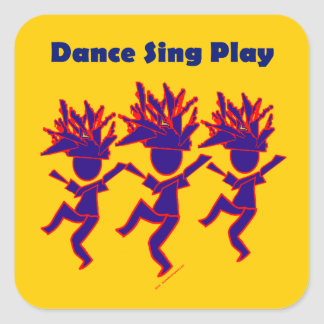 Dance Sing Play Square Sticker