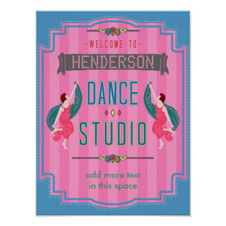 Dance Studio Personalized Name Pink Stripes Retro Poster
