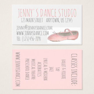 Dance Studio Teacher Ballet Shoe Business Cards