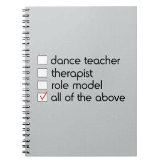 Dance Teacher Checklist Spiral Note Book