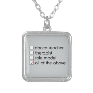Dance Teacher Checklist Silver Plated Necklace