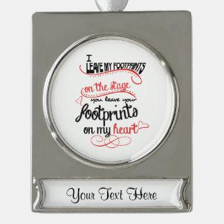 Dance Teacher - Footprints on the Heart Silver Plated Banner Ornament