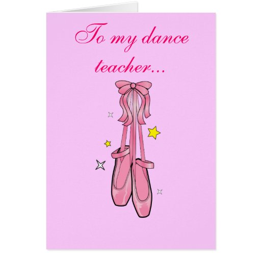 Dance Teacher Thank You with Hanging Ballet Shoes Greeting Card