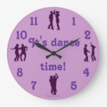 Dance Time Dance Poses Purple Clock With Numbers