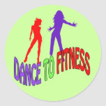 Dance to Fitness Round Stickers