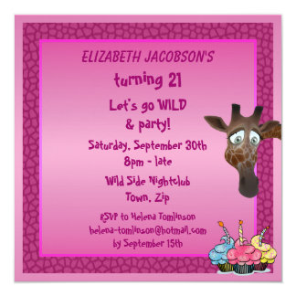 Dance until you drop Pink Giraffe Party Invites