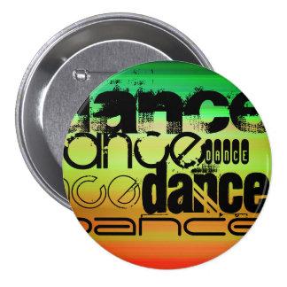 Dance; Vibrant Green, Orange, & Yellow 3 Inch Round Button