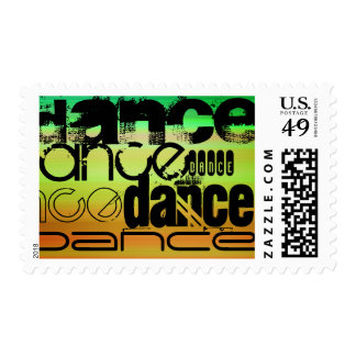 Dance; Vibrant Green, Orange, & Yellow Postage