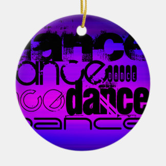 Dance; Vibrant Violet Blue and Magenta Double-Sided Ceramic Round Christmas Ornament