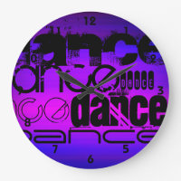 Dance; Vibrant Violet Blue and Magenta Large Clock
