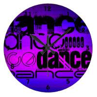 Dance; Vibrant Violet Blue and Magenta Large Clock