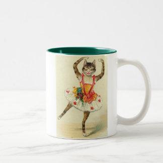 dance Vintage kitty Two-Tone Coffee Mug