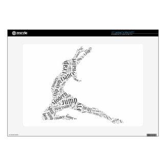 "Dance Word Cloud Black & White 15"" Laptop Skin"