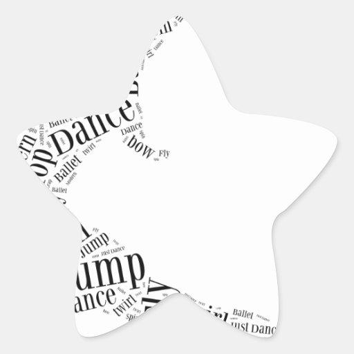 Dance Word Cloud Black & White Star Stickers