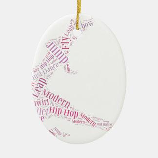 Dance Word Cloud Pink Ceramic Ornament