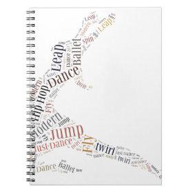 Dance Word Cloud Spiral Note Books