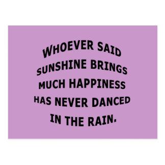 Danced in the rain postcard