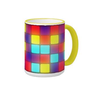 Dancefloor retro colorido taza a dos colores