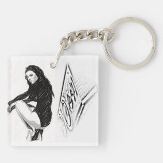 Dancehall Lifestyle Girl&Speaker Box Key Ring Double-Sided Square Acrylic Keychain