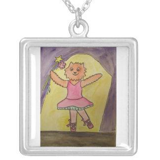 Danceing Fox Neckles Square Pendant Necklace