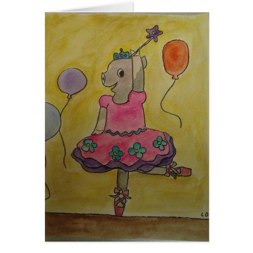 Danceing Pig Greetingcard Greeting Card