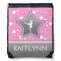 Dancer Among the Stars in Pink with YOUR NAME Drawstring Bag