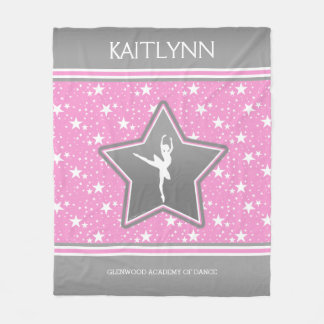 Dancer Among the Stars in Pink with YOUR NAME Fleece Blanket