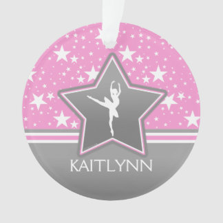 Dancer Among the Stars in Pink with YOUR NAME Ornament