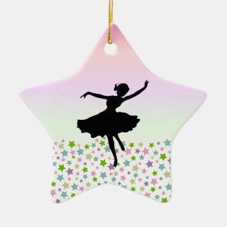 Dancer amongst the stars and pink sky Double-Sided star ceramic christmas ornament