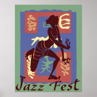 Dancer at Jazz Festival, Matisse Style Poster
