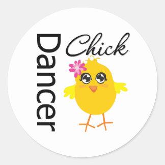 Dancer Chick Round Stickers